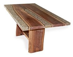 Walnut and concrete table by Randy Mugford