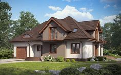 Dom w stylu tradycyjnym z balkonami Small House Layout, House Layouts, Dream Home Design, Home Design Plans, Modern Bungalow House, Beautiful House Plans, Cute House, Dream House Exterior, Village Houses