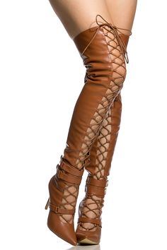 Camel Faux Leather Lace Up Pointed Toe Thigh High Boots @ Cicihot Boots Catalog:women's winter boots,leather thigh high boots,black platform knee high boots,over the knee boots,Go Go boots,cowgirl boots,gladiator boots,womens dress boots,skirt boots.