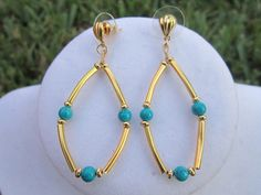 Pair of Half Inch Gold Plated Curved Tube Earrings by RAVCreations, $8.00
