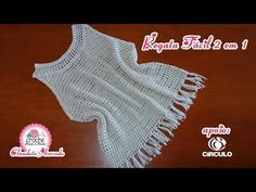 Regata Fácil 2 em 1 em Crochê por Claudete Azevedo - YouTube Crochet Summer Tops, Crochet Crop Top, Crochet Blouse, Crochet Box, Crochet Woman, Crochet Baby Sweaters, Crochet Clothes, Crochet Bikini Pattern, Crochet Patterns
