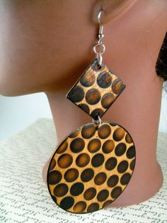 Chocolate Chip Cheetah Wood Burned Earrings by JEHAANS on Etsy, $18.00