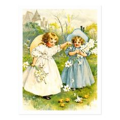 Baby's First Easter Postcards with a vintage little girls with chicks illustration by Maud Humphrey, circa 1895. Matching cards, postage stamps and other products available in the Holidays / Easter Category of the oldandclassic store at zazzle.com