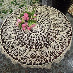 TideTex Rural Style Weave Hollow Out Round Small Lace Tablecloths Floral Table Cover Rustic Design Embroidered Farbic Doilies Table Cover Round Beige (36-Inch Round, Beige)