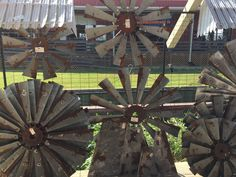 """We sell and ship these decorative windmill fans. 30"""" $100, 40"""" $150, 50"""" $200, 60"""" $300. Half fans also available. Shipping adds $49 on all except for the 60"""" which is $75 shipping fee. Hinz-57@att.net Windmill Clock, Windmill Wall Decor, Log Home Interiors, Prairie House, House Inside, New House Plans, Farmhouse Chic, Guest Bedrooms, Home Decor Furniture"""