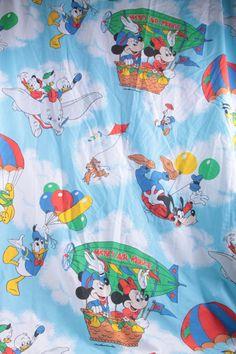 Vintage FabricDisney Mickey Minnie Goofy Pluto Donald Dumbo Flat Twin Sheet Fabric  The Pink Room  170211 by ThePinkRoom