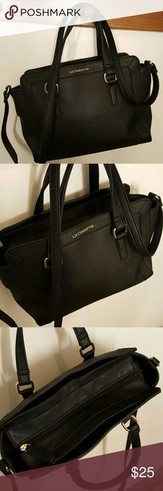 Black Liz Claiborne handbags Black bag by Liz Claiborne, has two handles and one long shoulder strap, strap is adjustable. One large main compartment and one smaller compartment on the front and the back. Zipper closure. Excellent used condition. All man-made materials. Liz Claiborne Bags Shoulder Bags
