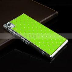 Sony Xperia Z1 phone case - Diamond Studded Electroplated Hard Plastic Case for Sony Xperia Z1 Green ~