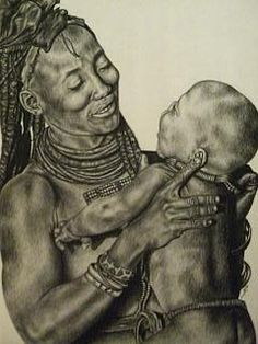 African woman and child Drawing - Meagan Richards
