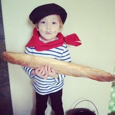 BENJI - FRANCE: Black and white striped top, french beret hat, red scarf, fake mustache (optional)