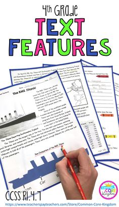 Nonfiction, informational text features and images to help your 4th grader learn how to interpret information presented visually or quantitatively in charts, graphs, diagrams, timelines, and maps. Reading Strategies, Reading Skills, Teaching Reading, Reading Comprehension, Guided Reading, Learning, Text Feature Anchor Chart, Text Features Worksheet, 4th Grade Classroom
