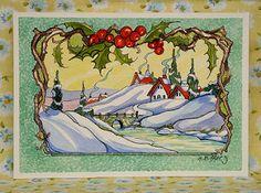Vintage Christmas Cards, Retro Christmas, Vintage Cards, Vintage Postcards, Vintage Images, Christmas Postcards, Xmas Cards, Vintage Pictures, Cute Cottage