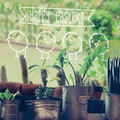 Zum Frühling Fensterbilder mit Kreide-Stiften gemalt