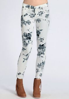 Floral Secrets Skinny Jeans - $48.00: ThreadSence, Women's Indie