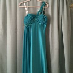 Selling this Caché turquoise floor length gown in my Poshmark closet! Size 8 and worn once. My username is: sarahtbaum. #shopmycloset #poshmark #fashion #shopping #style #forsale #Cache #Dresses
