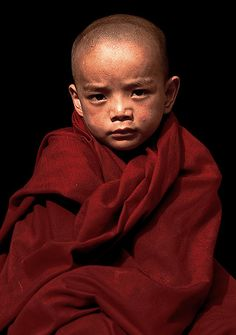 a little monk in Katmandu, came from Tibet and left his family for the monastic training..an usual course for poor families in Tibet..