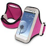 Mybat UNIVP252NP Sport Armband Case for Cell Phones and Smartphones - Retail Packaging - Purple. Fits cell phones and smartphones no larger than 138mm tall x 71mm wide x 110mm thickness. This durable, lightweight armband case keeps your device secure and protected. Heavy duty see-through faceplate allows you to view and access your device while still in the pouch. Multiple layers of padding offer the best in protection. Armband is compatible with upper arm circumference: 12 - 17 Inches....