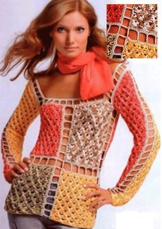 Vintage crochet design with joined squares.