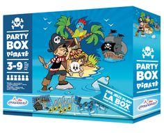 Party box DYNASTRIB: Boite tout en un pour organiser les activités de votre matelot lors de son anniversaire ! 6 sabres de pirate gonflables, 6 badges, un jeu du pirate avec masque et stickers et une piñata aux couleurs des pirates