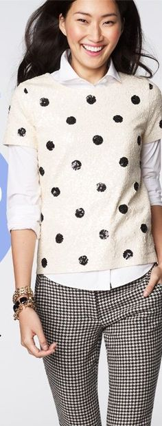 jcrew, wear a long sleeve shirt under a short sleeve sweater, love the sparkly polka dots, church girl outfit, cute outfits