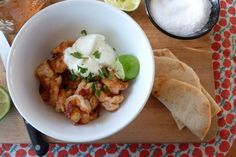 Spicy Shrimp with Yogurt. I keep this spice blend mixed in a wee jar and sprinkle it on salmon, tilapia, etc. as well. Delish!