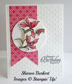 Stampin' Up! stamp set, Backyard Basics in Strawberry Slush & matching framelits; Sharon Burkert