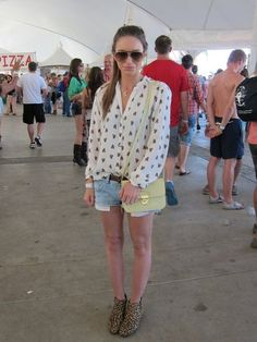 Coachella Festival Style: An awesome mix-up in a Zara button-down, cutoffs, and a citrus-hued Topshop bag.