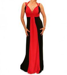 Red and Black Long Evening Dress #womensfashon justblue.com