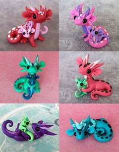 I call them scrap dragons because they are made from all the random leftover bits of clay from past projects. I have tons of little balls of clay stored. Polymer Clay Kunst, Polymer Clay Dragon, Cute Polymer Clay, Cute Clay, Fimo Clay, Polymer Clay Projects, Polymer Clay Charms, Polymer Clay Creations, Clay Crafts
