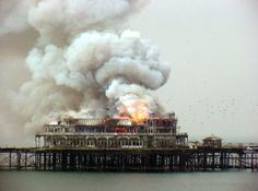 West Pier burning by VKeith. Such a sad day. Brighton Cafe, Brighton Hotels, Brighton And Hove, Brighton Sussex, Old Pictures, Old Photos, Plymouth England, Bognor Regis, City By The Sea