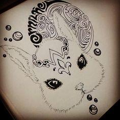 WIP: Ernilhe = Princess. Something simple and cute! #dailies #pen #inkBurp #artBurp #quickie #doodleart #rabbit #hotp #wip #toBeInked #tattoo #BandW #365Days