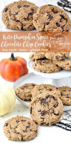 These Keto Pumpkin Spice Chocolate Chip Cookies are soft and chewy, with all the delicious flavors of fall. Best of all, they are low carb and gluten free. #lowcarbrecipe #ketorecipes #keto #lowcarb #glutenfree