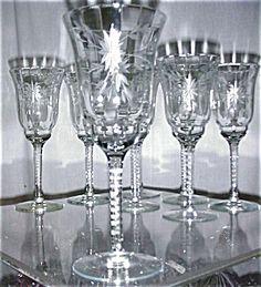 Set 8 Wheel Cut Tall Wine Glasses
