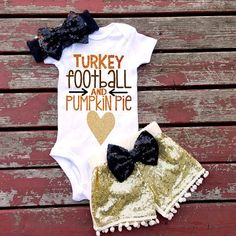 Turkey Football and Pumpkin Pie Baby Girl by GLITTERandGLAMshop