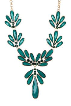 Gold & Emerald Flower Cluster Stones Necklace
