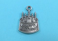 6 Happy Birthday Charms Silver Tone by OliviaMadisonCompany (Craft Supplies & Tools, Jewelry & Beading Supplies, Charms, craft supplies, charm, silver charms, metal charms, tibetan silver, silver charm, charm bracelet, findings, birthday charms, birthday cake charm, happy birthday charm, cake with candles, cake charms)