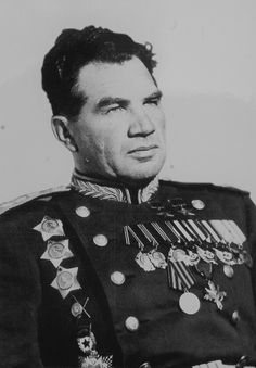 Vasily Ivanovich Chuikov (Russian: Васи́лий Ива́нович Чуйко́в; 12 February 1900 – 18 March 1982) was a Soviet lieutenant general in the Red Army during World War II, commander of the 62nd Army during the Battle of Stalingrad, twice Hero of the Soviet Union (1944, 1945), and after the war a Marshal of the Soviet Union.