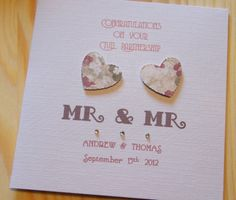 Handmade Civil Partnership Personalised Card - MR & MR