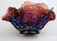 """Diamond Lace by Imperial Purple Carnival Glass 8 Ruffle 9"""" Master Berry Bowl 