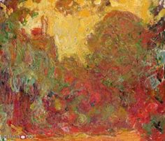 Giclee Print: The House in Giverny, Composition in Red C. 1922 by Claude Monet : Wall Art Prints, Fine Art Prints, Oil On Canvas, Canvas Art, A4 Poster, Posters, Outdoor Art, Claude Monet, John Lewis