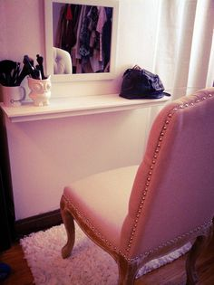 diy vanity - would use bigger shelf I think? Already have large vintage mirror and pink vanity chair vintage diy bedroom decor, small apartments, chair, vintage mirrors, apartment bedroom diy, makeup storage, wall shelves, diy bedroom decor vintage, diy vanities
