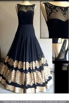 Look beautiful with elegant party wear dresses party wear dresses buy black georgette embroidered semi stitiched party wear gowns party-wear- gown online GWUGLHR Indian Lehenga, Party Wear Lehenga, Party Wear Dresses, Wedding Dresses, Indian Designer Outfits, Designer Gowns, Designer Anarkali, Pakistani Outfits, Indian Outfits