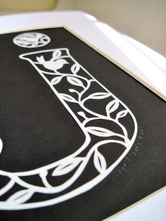 The letter J initial paper cutting by Ingridlouise on Etsy