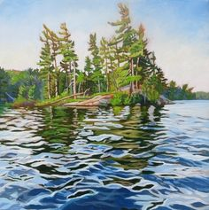 Acrylic on Gallery Canvas This is a little island on Kelly Lake, in the Haliburton Forest, that I have names Blueberry Island because it's covered in blueberry plants. Watercolor Landscape, Landscape Art, Landscape Paintings, Watercolor Paintings, Watercolor Artists, Abstract Paintings, Oil Paintings, Watercolors, Lake Painting