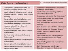 Veena's Art of Cake - flavour combos