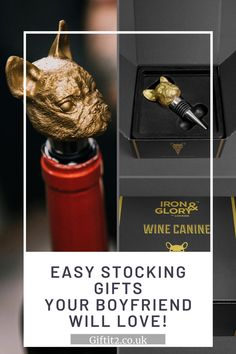 Christmas Stocking Gift Ideas boyfriends, husbands and friends will love! Such as this golden French Bulldog wine stopper, the perfect wine gift idea for any animal-crazy friend or any vino lover. For more gift ideas for him see our full collection at Gift It 2. #giftit2 Best Presents For Men, Great Gifts For Men, Presents For Friends, Christmas Gifts For Men, Christmas Stocking, Stocking Stuffers For Dad, Practical Housewarming Gifts, Surprise Birthday Gifts, Wine Bottle Stoppers