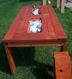 Patio table with built in coolers. by OneWithTheGrain on Etsy, $250.00