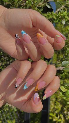 Simple Acrylic Nails, Best Acrylic Nails, Acrylic Nail Designs, Summer Acrylic Nails, Square Acrylic Nails, Spring Nails, Summer Nails, Edgy Nails, Funky Nails
