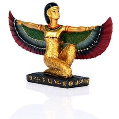 Click and shop now for Decorative Gold Egyptian Winged Isis Figurine Kneeling by weeabootique