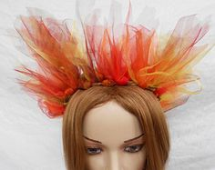 Fire Crown Phoenix Dragon King Headpiece Fairy Tiara Flame Queen Goth Circlet Goddess Headband Katniss LARP Fantasy Halloween Devil Costume